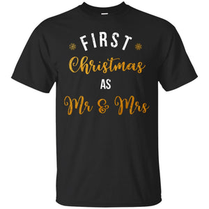 First Christmas Mr Mrs Vintage Couple Holiday Sleeves Shirt