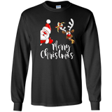 Merry Christmas T-shirt Red Nose Santa Reindeer Rudolph