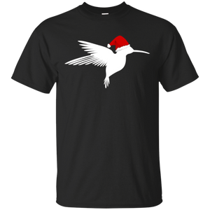 2018 Christmas Hummingbird Shirt Santa Hat Bird Lover Tee