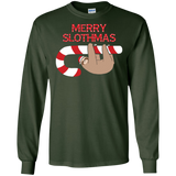 Merry Slothmas Christmas Sloth Candy Cane Funny T-Shirt