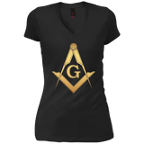 Mens Gold Masonic Square and Compass - Freemason T-Shirt
