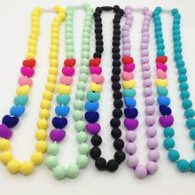 Load image into Gallery viewer, Food grade Silicone Teething Necklace with heart beads baby chew necklace Nursing  necklace teether