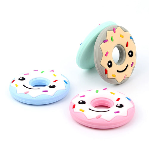 Donuts Silicone Teether baby Teething Toy beads DIY chew Necklace Pacifier Chain Pendant Food Grade Silicone BPA Free