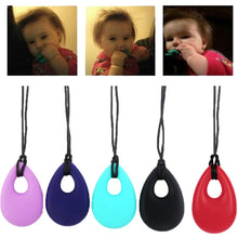 Load image into Gallery viewer, Cute Teardrop Baby Pendant Teether Teething Necklace Soft Silicon Teether Autism Sensory Chew Baby Healthy Care Supplie