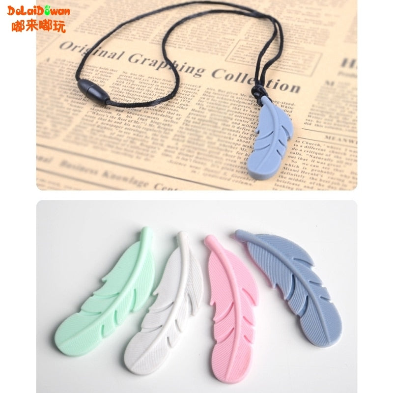 Bird Feather Baby Silicone Teething Beads Plume Food Grade Silicone Nursing Pendants Chewing Jewelry Necklace Toys