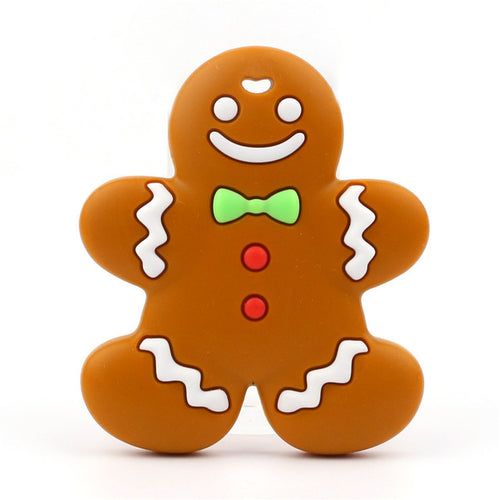 Gingerbread Man Baby Teethers Food Grade Silicone Mordedor Baby Teething Necklace Beads BPA Free Infants Tooth Toys