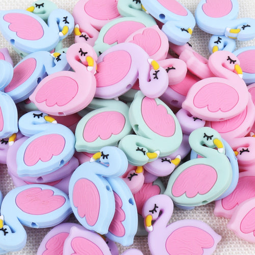 Flamingo Silicone Beads Baby Teething Rings Making Food Grade Silicone Perle Chew Necklace Teething Toys Accessories