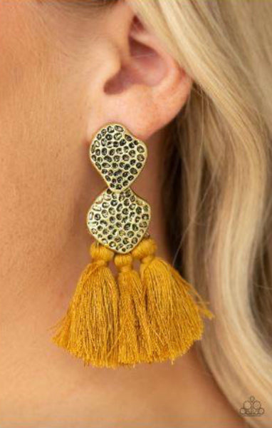 Tenacious Tassel - Yellow Earrings
