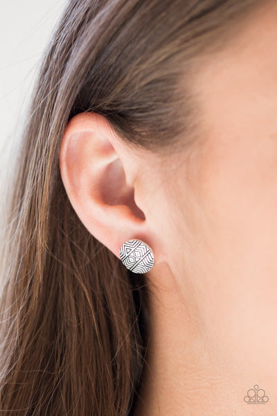 Bright As A Button - Silver Earrings