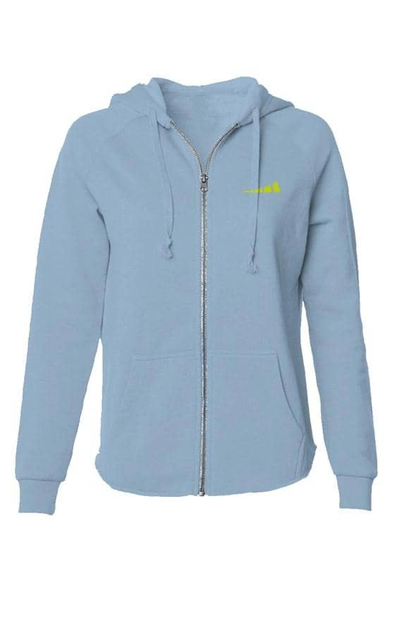 Womens Lightweight Wash Zip Hoodie