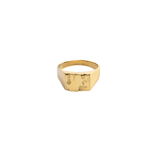 Meltdown Signet Ring Solid Gold