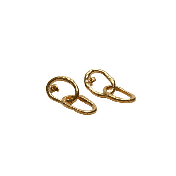 Double Link Earrings Gold