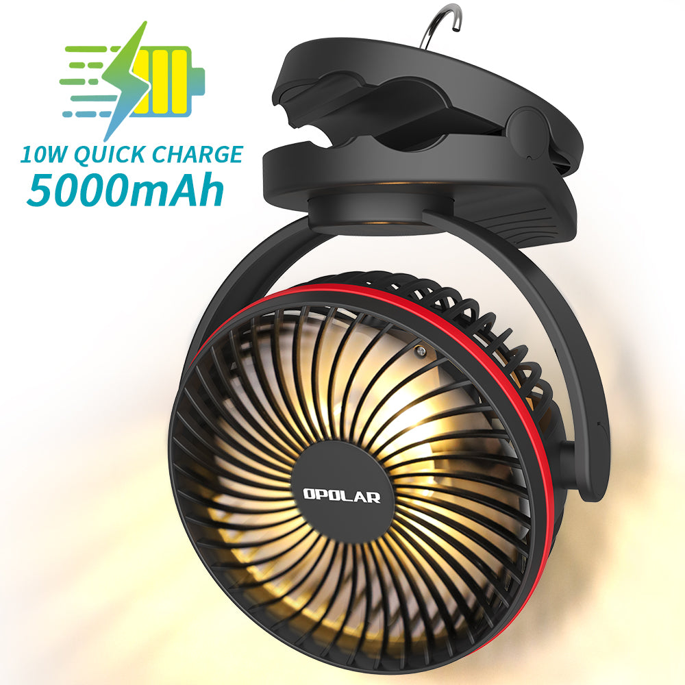 OPOLAR 5000mAh Camping Lantern Clip On Fan