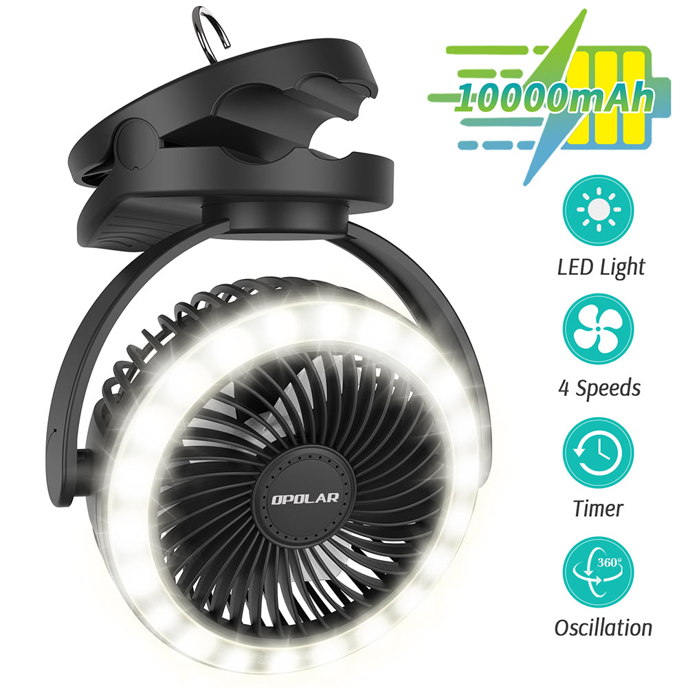 OPOLAR 10000mAh 6-Inch Camping Lantern Clip On Fan