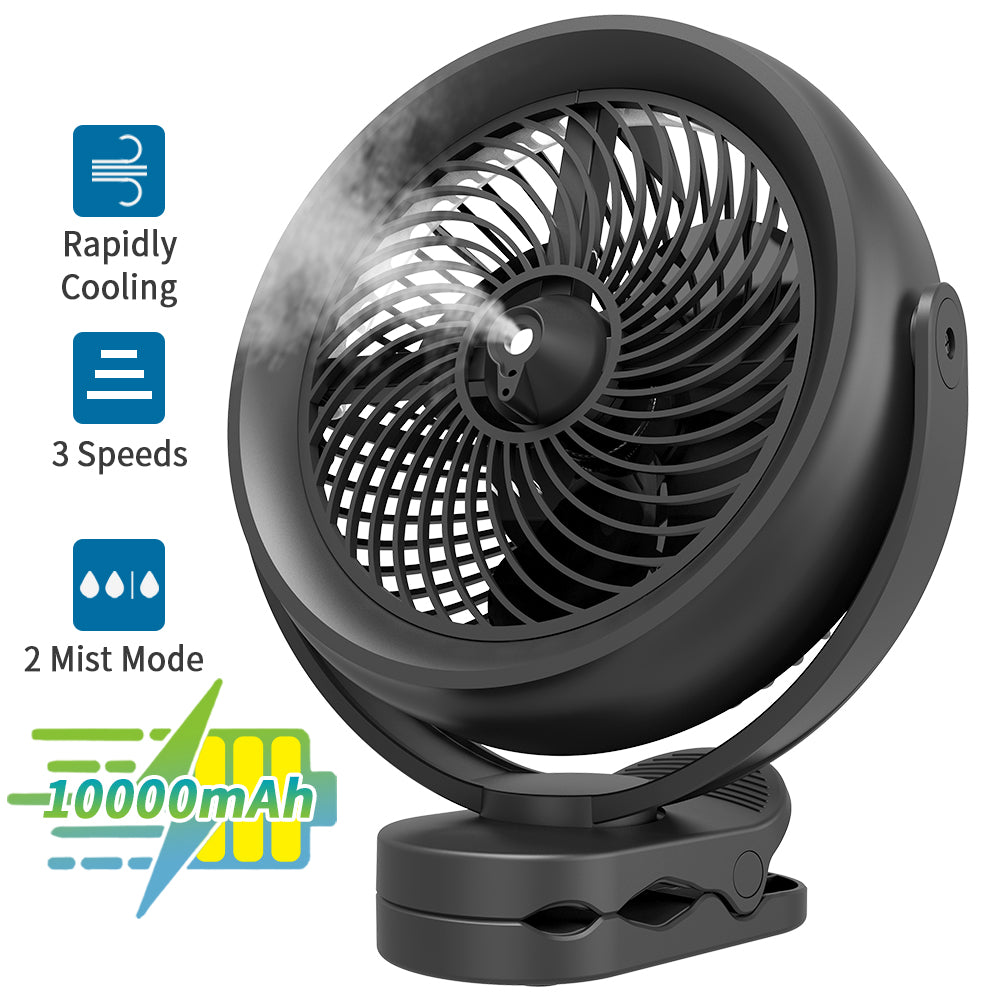 OPOLAR 10000mAh Battery Operated Cooling Misting Fan Clip on Fan(Only instock in US)