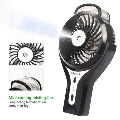 OPOLAR Hand Held Portable Water Misting Fan for Travel, Rechargeable Battery Operated or USB Powered, Humidifier and Personal Fan 2 in 1,Maximal 8 Hours Battery Life, 3 Settings, Small Air Cooler