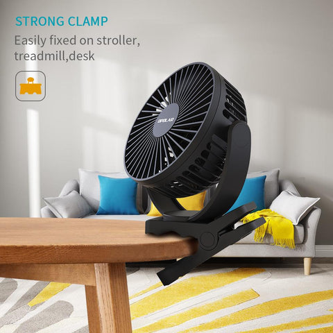 OPOLAR New 5000mAh Rechargeable Battery Operated Clip On Fan