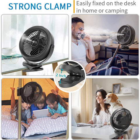 OPOLAR 10000mAh Battery Operated Cooling Misting Fan Clip on Fan