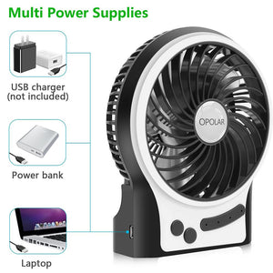 OPOLAR Battery Operated USB Rechargeable Desk Fan