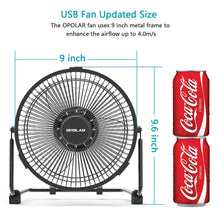 Load image into Gallery viewer, OPOLAR 9 inch USB Desk Fan - F511(No Battery)