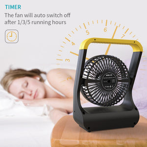 OPOLAR USB or 4 D Batteries Desk Fan with Timer