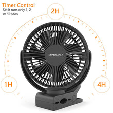 Load image into Gallery viewer, OPOLAR Clip Fan with 5200mAh/6700mAh Battery and Timer