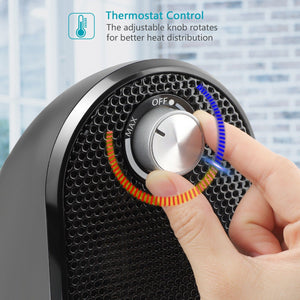 500 Watt Ceramic Mini Heater with Adjustable Thermostat