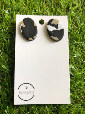 Wild light oval studs