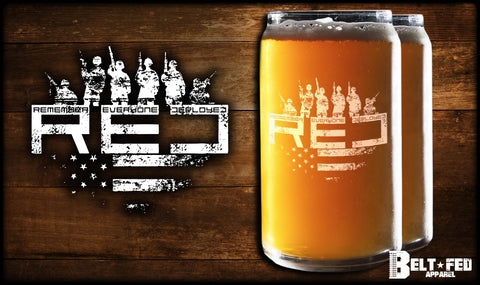 R.E.D. Beer Can Glass Set