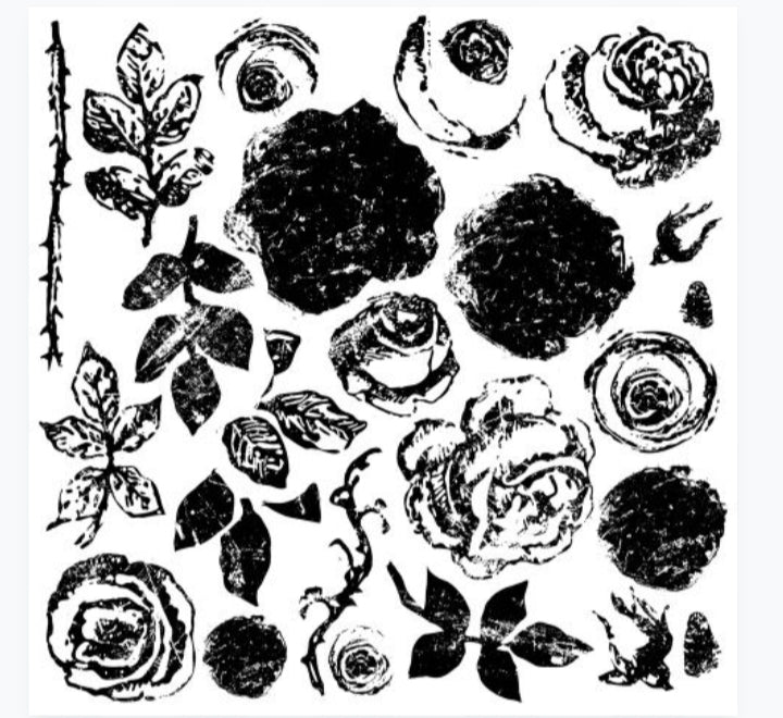 Painterly Rose 12x12 Decor Stamp