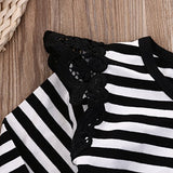The Lace B&W Stripe Romper