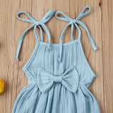 Mubineo Toddler Baby Girl Summer Fall Basic Plain Short Sleeve Cotton Linen Drawstring Romper Jumpsuit, Color - X-mustard Yellow(long Sleeve)