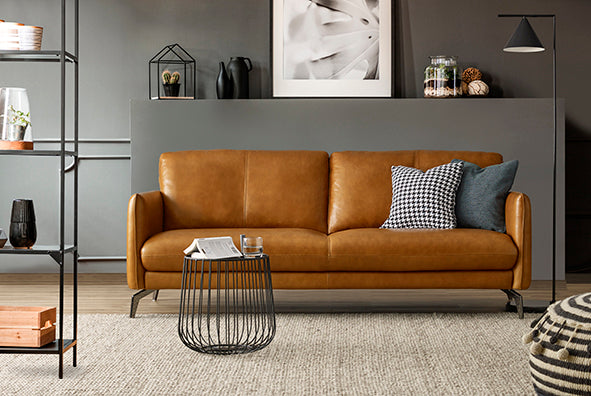 HomesToLife Wright Leather Sofa