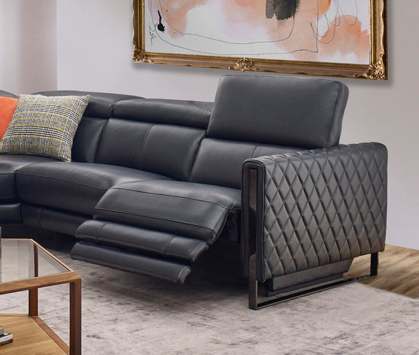 HomesToLife Onyx Leather Recliner Sofa