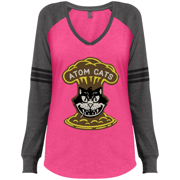 DM477 Ladies' Game LS V-Neck T-Shirt