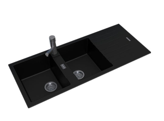 Black Granite Double Sink 1150