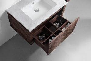 the loom 1400 twin vanity, hand crafted in a black walnut waved finish