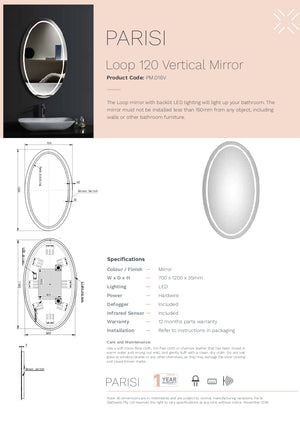 Loop Oval 1200 Mirror Led