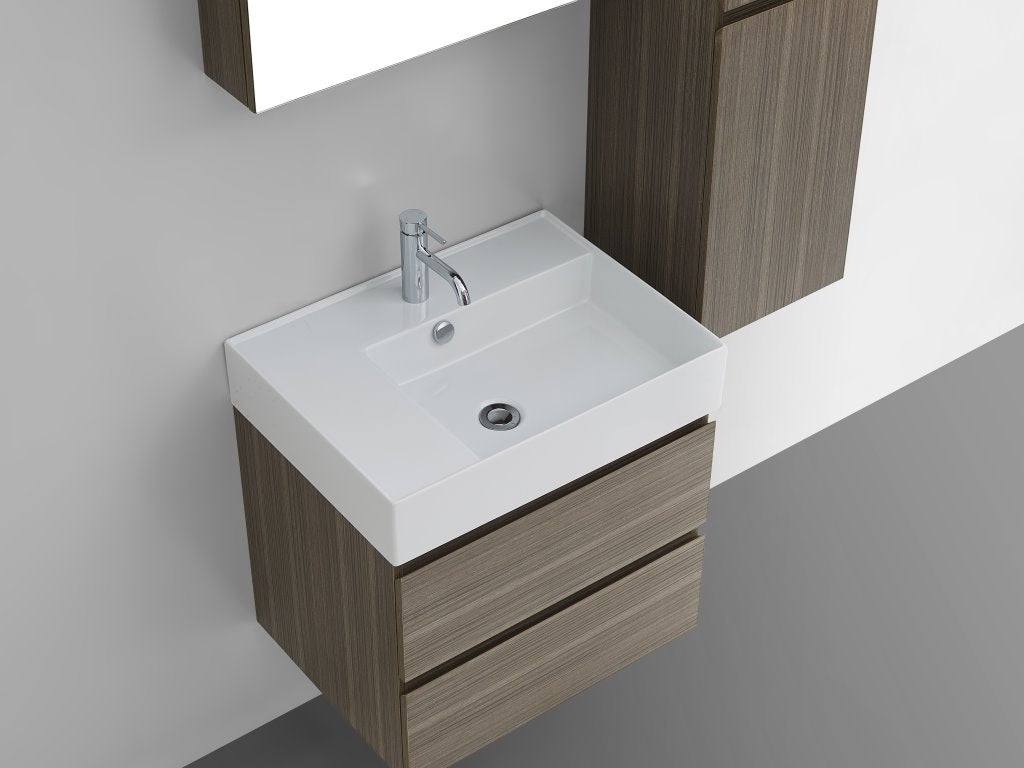 Twenty 600 Wall Mounted Cabinet with Right Bowl Top Sahara