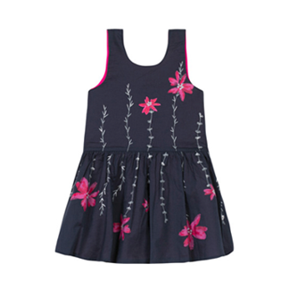 Catimini Poplin Dress Printed with Flowers - Navy