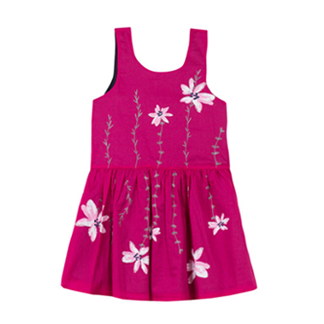 Catimini Poplin Dress Printed with Flowers - Pink