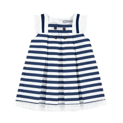 Mayoral Navy Striped Dress with white eyelet trim