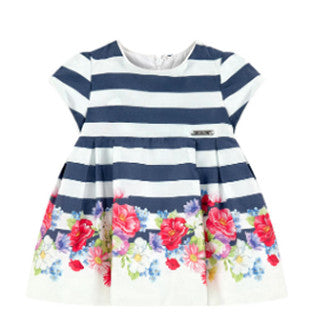 Mayoral Navy and white striped dress trimmed with flower print