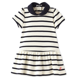 Petit Bateau Striped Sailor Dress with Peter Pan Collar
