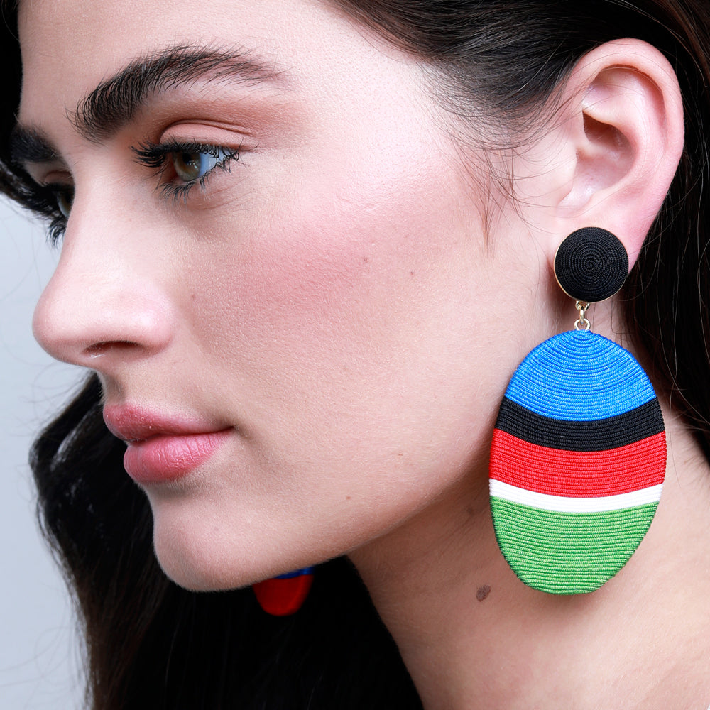 multicolored stripe pattern earrings designed by Maryjane Claverol