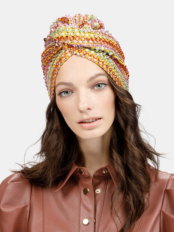 Hand embroidered faceted beads in rainbow stripe pattern turban designed by Maryjane Claverol