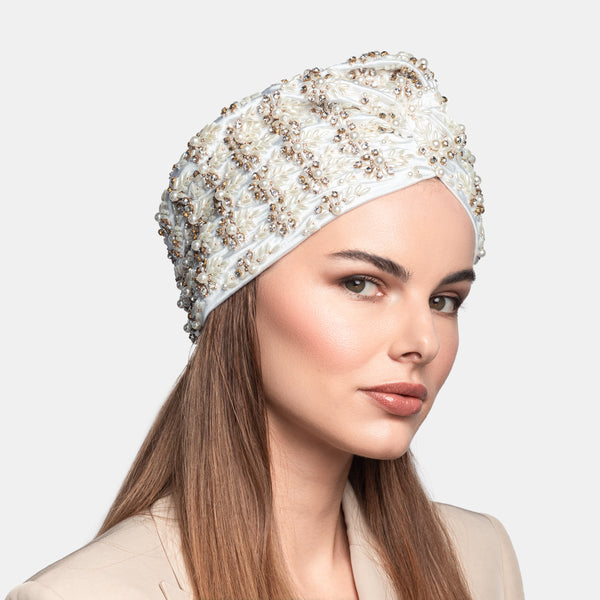Hand embroidered pearl, rhinestone, front knot pattern turban. Designed by Maryjane Claverol.