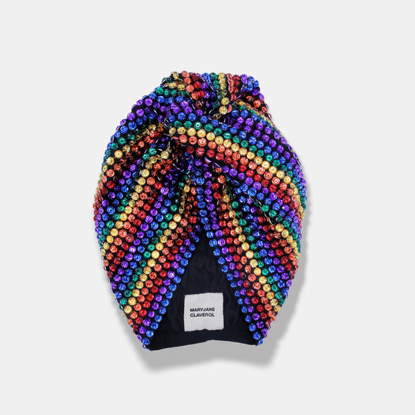 rainbow pattern embroidered turban by Maryjane Claverol