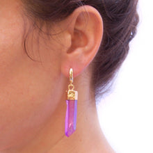 Load image into Gallery viewer, Pink Quartz Huggie Hoops