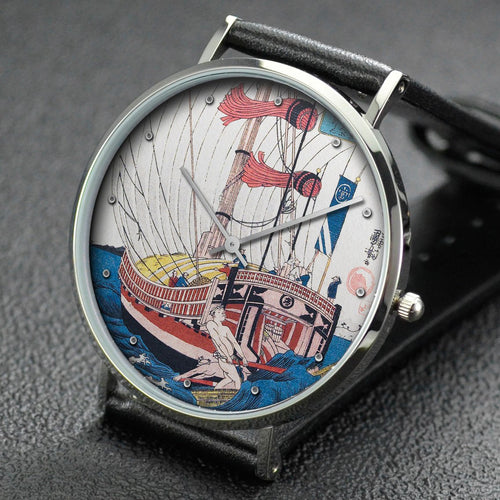 Utagawa Kuniyoshi wrist watch ─ Illustration of of the Sangi Komura's Poem from Hyakunin isshu